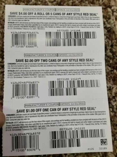 New Red Seal Coupon Lot Of 3 7.00 Value Exp. 12/31/2021 Off A Can Of Any - $0.99
