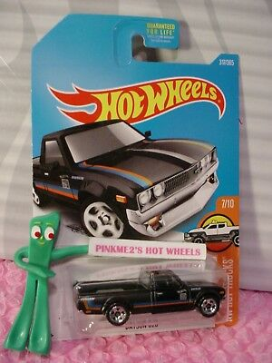 DATSUN 620 truck #317✰black pickup; 5sp✰HOT TRUCKS✰2017 Hot Wheels Kmart case Q