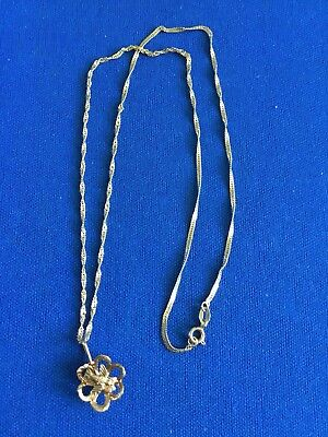 """10k Yellow Gold 17.5"""" Twist Chain Singapore Necklace With A Flower/Bird Pendant"""