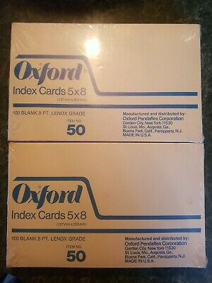 Vintage Set Of 2 New Oxford 5 X 8 Blank Index Cards White 100 Pack Usa Nos