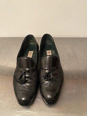 Vintage Gucci Men Black Loafers Moc Toe Tassel Slip On Dress Shoes 39 1/2 D