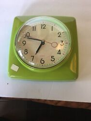 Lime Green Retro Style Square Wall Clock