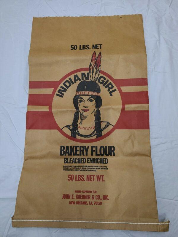 VINTAGE INDIAN GIRL BAKERY FLOUR SACK BROWN PAPER BAG 50#