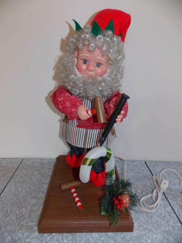 "Vtg Xmas Motionette Animated Elf Toy Maker Santa Workshop Decoration 20"" Tall"