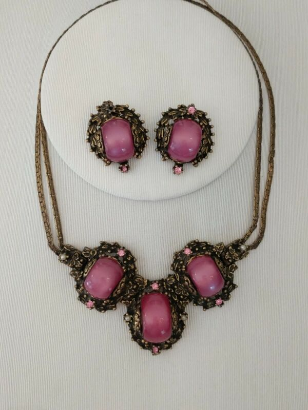 Vtg Estate Runway  Pink Cabochon Necklace Earrings Florenza Style Moon Stone