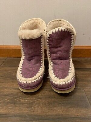 Womens Mou Purple Floral Eskimo Booties Size 11