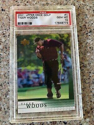 2001 Upper Deck Golf Tiger Woods Rookie RC #1 PSA 10 GEM MINT Beautiful