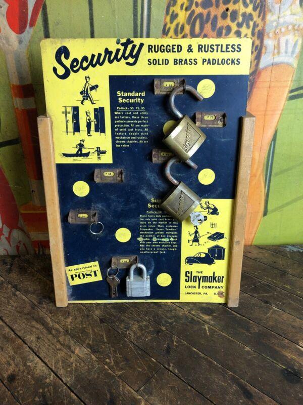 VINTAGE SLAYMAKER PADLOCKS STORE DISPLAY SIGN BRASS LOCK LANCASTER PA HARDWARE