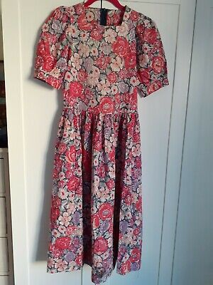 Vintage Laura Ashley Cotton Dress Red Size 6 - 8 ( 10 )