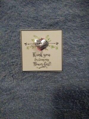 WEDDING Flower Girl THANK YOU GIFT card & Heart Charm