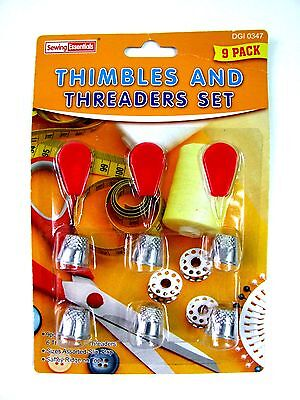 9pc THIMBLES & THREADERS Sewing Kit Thread Needle Assorted Sizes Thimble