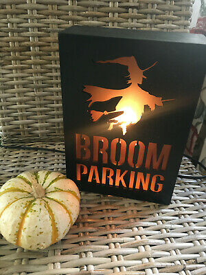 ELECTRIC IT LIGHTS UP BROOM PARKING Halloween WITCH WALL SIGN