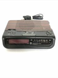 Vintage Woodgrain General Electric AM/FM Digital Alarm Clock Radio, 7-4613B