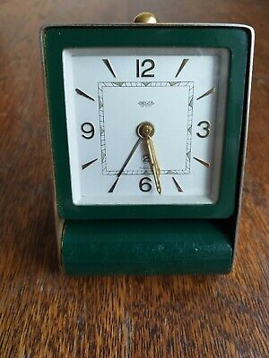 Antique 1920s Jaeger folding Travel Alarm Clock in brass and green enamel superb
