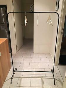 Freestanding clothes rack + 24 wooden hangers West End Brisbane South West Preview