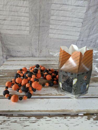 BlumChen Halloween garland orange black tree rare vintage 74-in