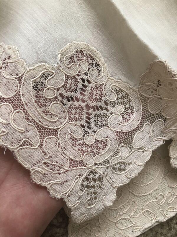 12 Vintage Antique Cotton Ecru Napkins with Alencon Lace Insertions