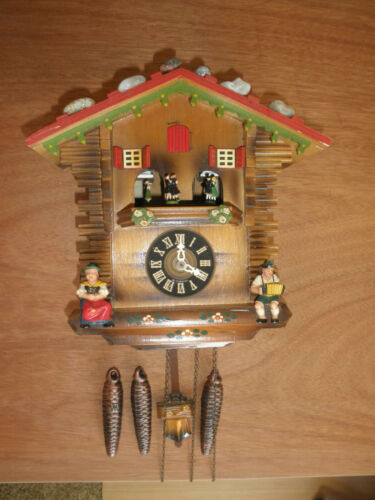Cuckoo Clock Black Forest  SEE VIDEO Musical Chalet 1 Day CK2364A