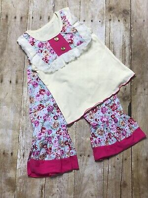 Girls 2 Piece Shabby Chic Boutique Pants Outfit Size 2-3 Years New Pink Floral ()