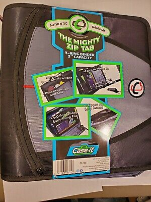 Case It 3 The Mighty Zip Tab Zipper Binder Dividers Shoulder Strap- Black