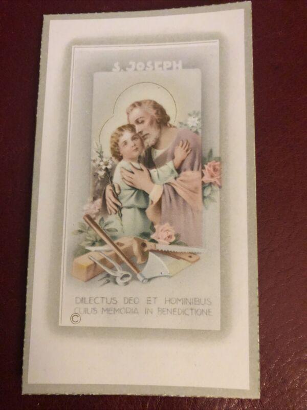 Vintage Catholic Holy Card - St. Joseph prayer in Latin