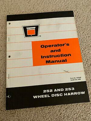 Oliver Operators Instruction Manual 252 And 253 Wheel Disc Harrow