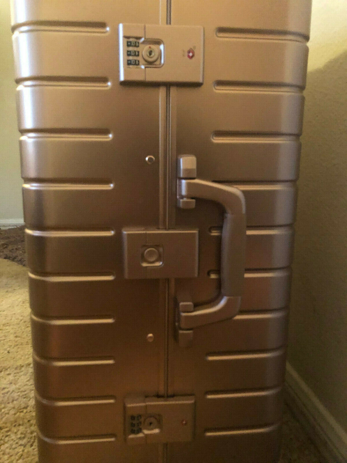 Pre-Owned Away Aluminum Medium Size Luggage In Rose Gold - $450.00