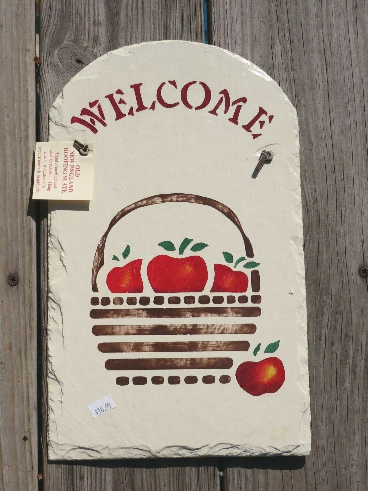 Old New England Roofing Slate Welcome Placque Sign Apple Basket Hand Stencilled - $12.00