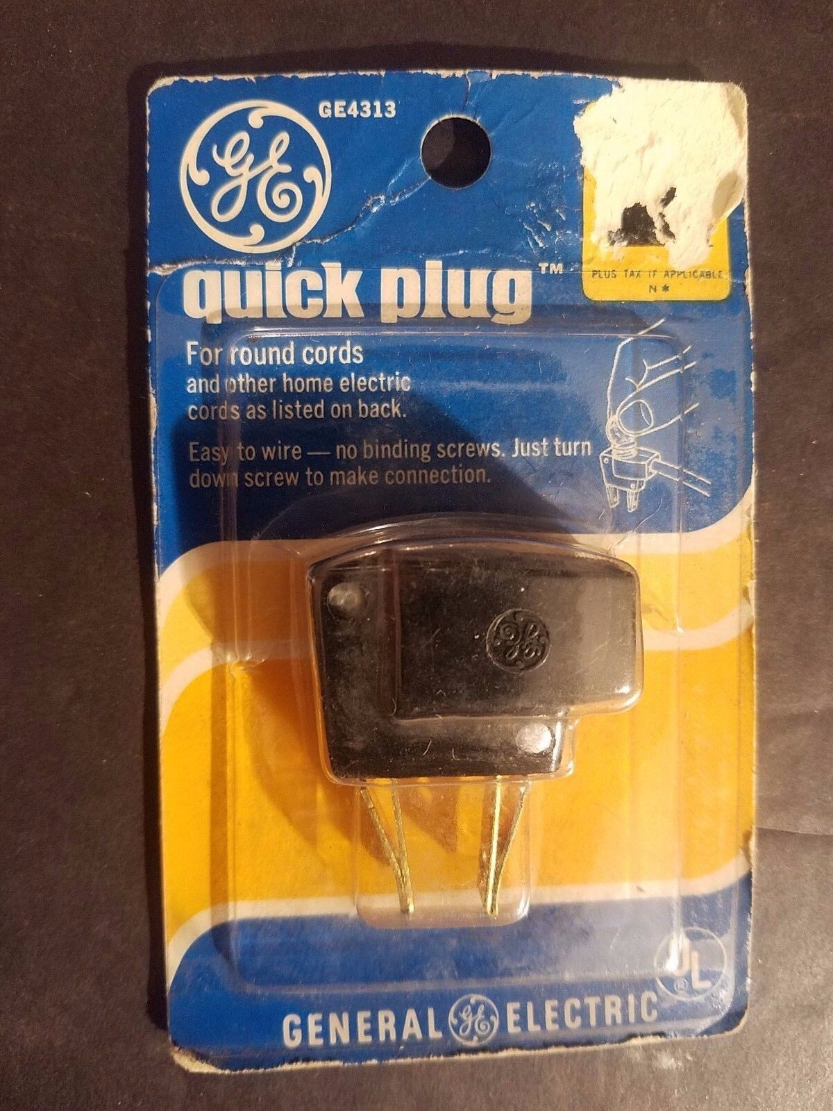 NEW SEALED Vintage GE Quick Plug GE4313 For Round Cords Brown Male