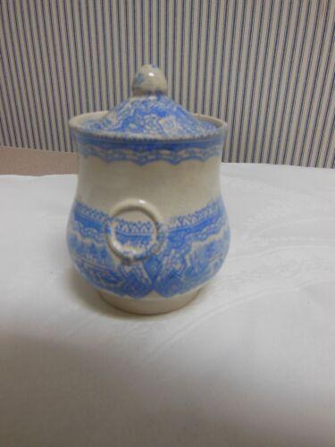 ANTIQUE  BLUE AND WHITE ENGLISH TRANSFERWARE MUSTARD POT