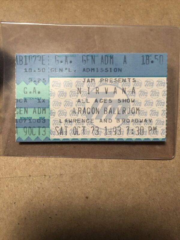 Nirvana Kurt Cobain Rare Ticket Stub First Time Playing You Know Your Right AIC
