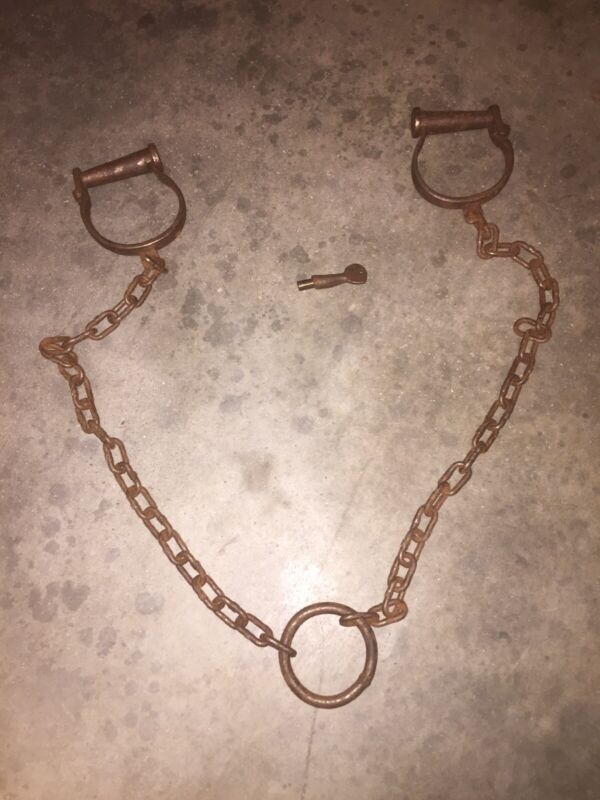 Leg Iron Prison Shackles Handcuffs Solid Metal Patina Collector 50 INCH JAIL