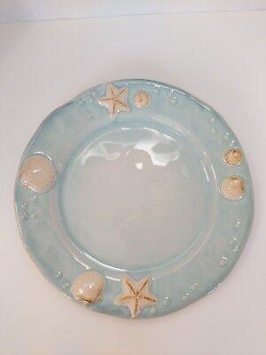 Sonoma SEASIDE Life Style Dinner Plate Aqua Blue Emboss Seashells Round Coastal Blue Round Dinner Plate