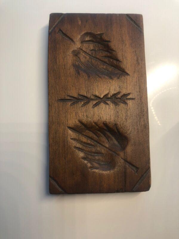 Butter Mold Stamp Leaf Design Wooden