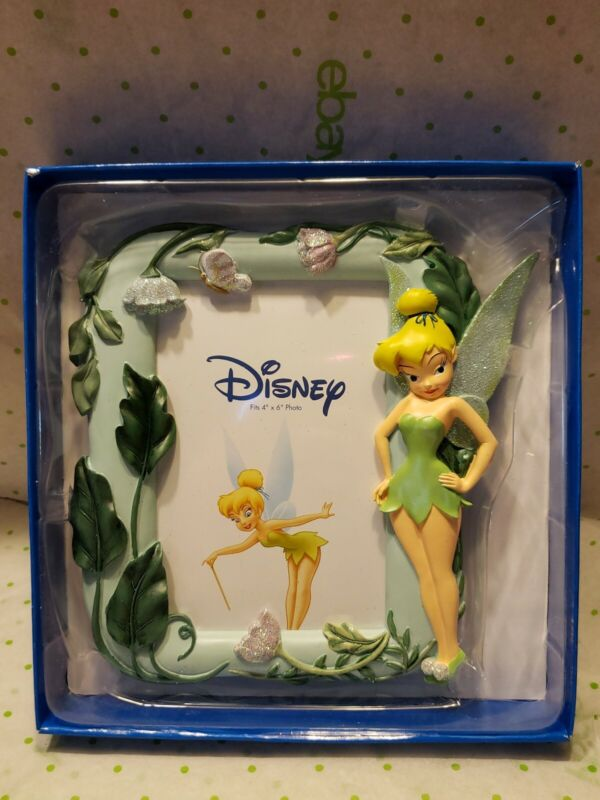 Enesco Disney Tinkerbell Fairy Photo Picture frame Holds 4x6 NIB Easel Standing