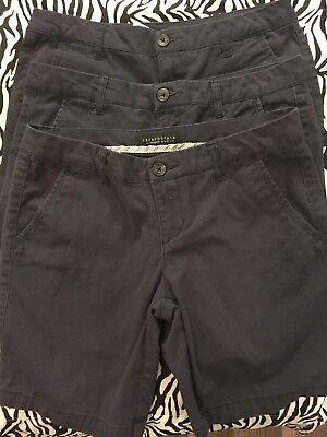 Lot Of 3! Aeropostale Khaki Bermuda Shorts NAVY Sz 6