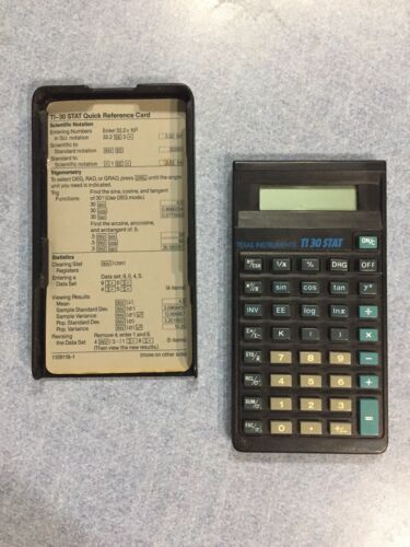 Texas Instruments Ti 30 Stat Scientific Calculator with cover, reference card