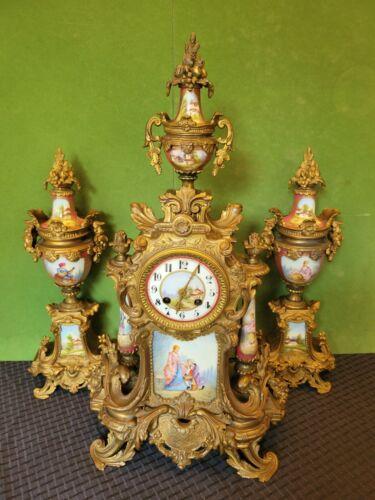 LOUI XVI SEVRES PARIS BRASS BRONZE PORCELAIN GARNITURE MANTLE CLOCK SET
