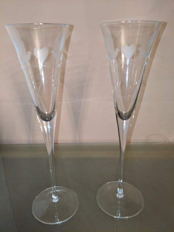 2 Crystal Lovebirds Wedding Champagne Flutes