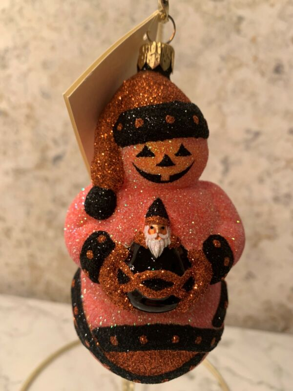 Patricia Breen 2002 FABERGE SNOWMAN Glitter Orange Halloween Christmas Ornament