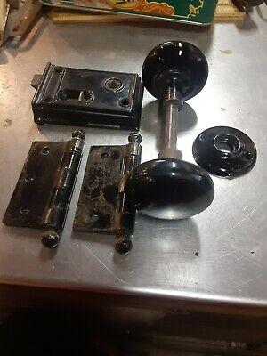 Vintage Cast Iron Door Lock / Latch Set with Black Porcelain Knobs and Hinges