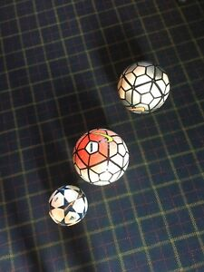 Three professional league soccer balls slightly used