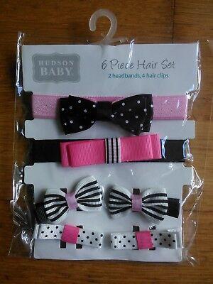 HUDSON BABY HAIR SET 6 Piece 2x headbands 4x hair clips ONE SIZE New