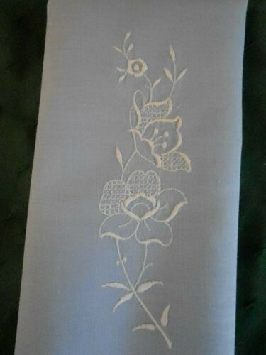 LOVELY LIGHT BLUE LINEN TOWEL WITH WHITE HAND EMBROIDERY, CIRCA 1930