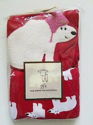 Baby Gap Girls Pajama Set Long Sleeved Top & Bottom Polar Bears Red Size 5  Baby Girls Long Sleeved Pajamas