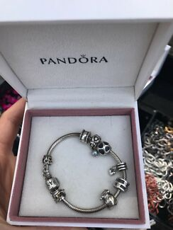 PANDORA Silver Bracelet with Silver Clasp & charms