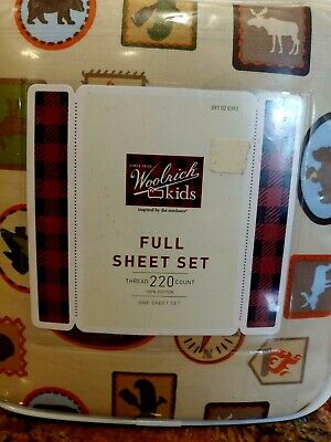4pc Woolrich Kids Full Size Camping Cotton Sheet Set