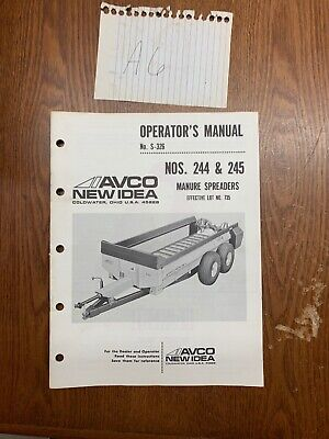 New Idea Manure Spreader 244 245 Operator Maintenance Manual Nos