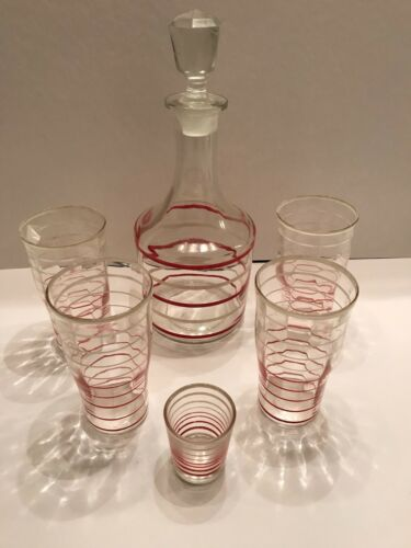 Anchor Hocking Banded Rings Barware - Red White Set Decanter, 4 Tumblers, Shot