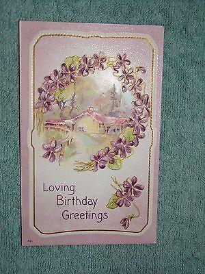 Vintage Postcard Loving Birthday Greetings House Scene With Purple Flowers